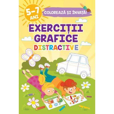 EXERCITII GRAFICE DISTRACTIVE. Coloreaza si invata! 5-7 ani